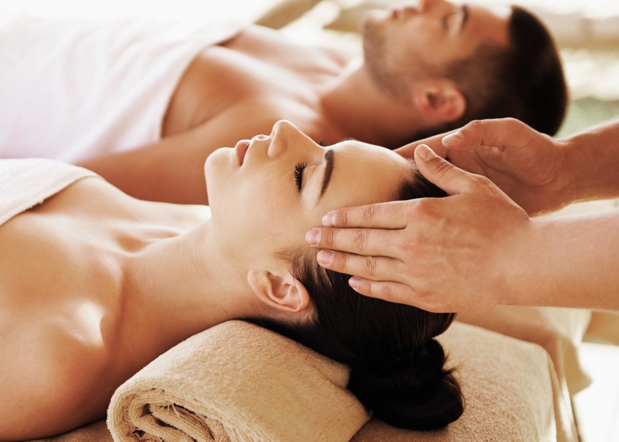 Couple on massage tables