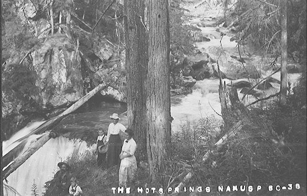 Period picture of family besides Halcyon springs