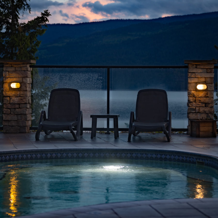 Poolside view of sunset at Halcyon Hot Springs